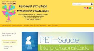 Lançado novo site do PET-Saúde Interprofissionalidade do CES/UFCG