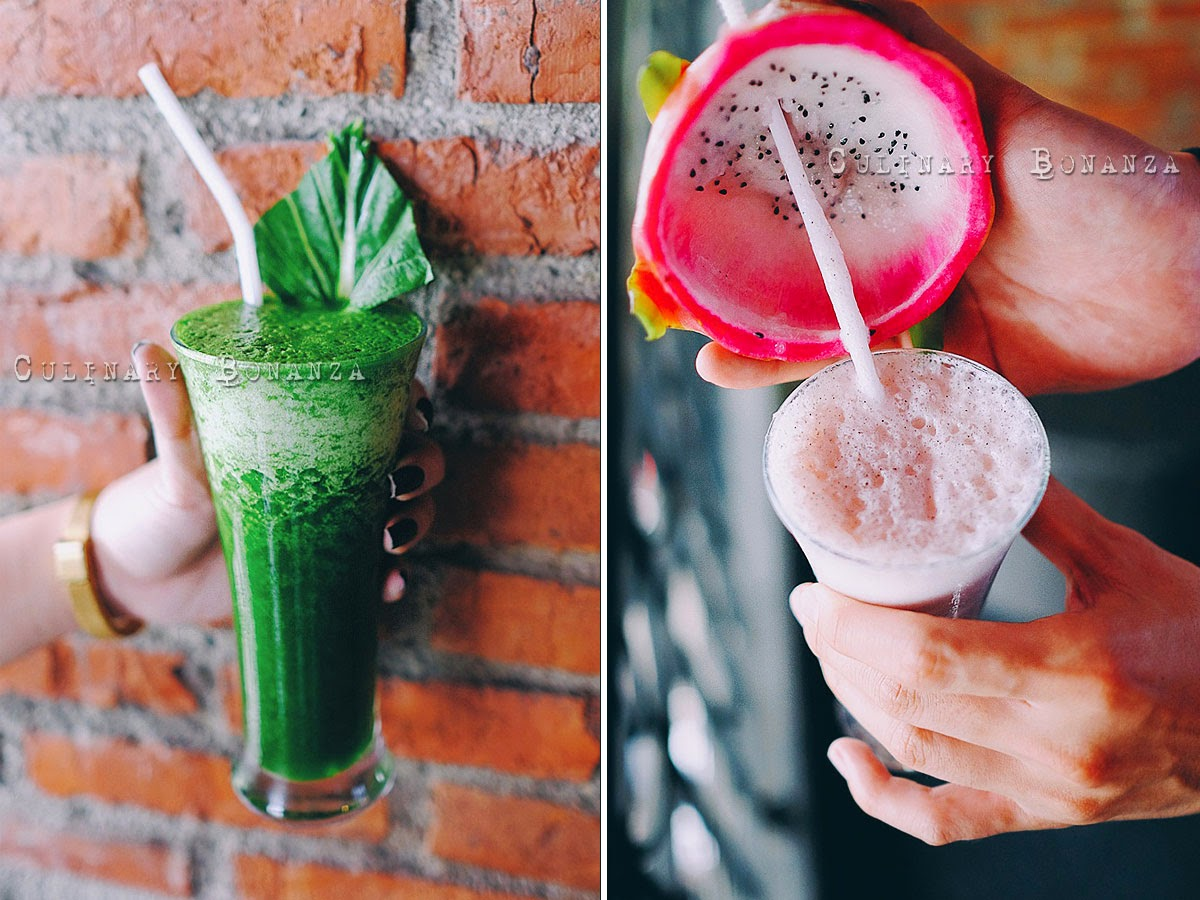 Left: Healthy Juice 20,000 Right: Tropical Dragon IDR 30,000 at Pala Adas Indonesian Bistro