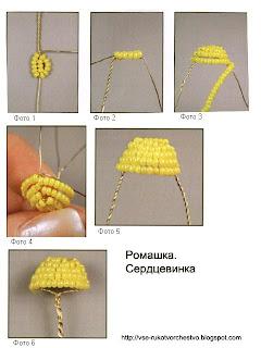 Плетение сердцевины ромашки из бисера