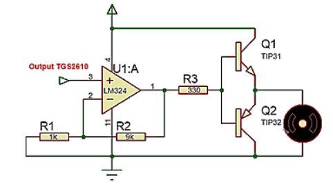 Implementasi sensor Gas TGS2610 dengan motor DC