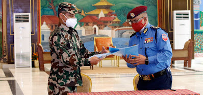Nepal Army Providing Weapon Set to Nepal Police