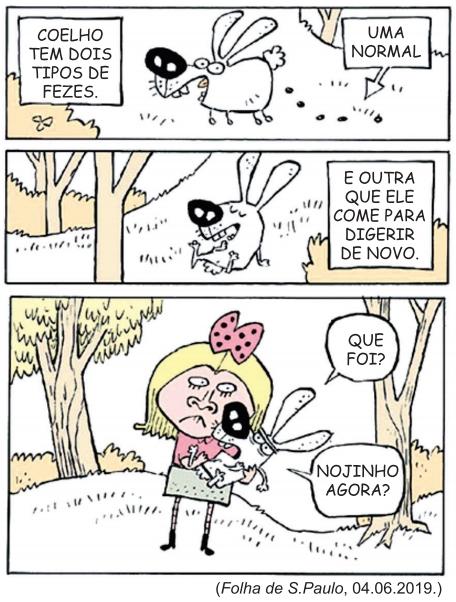(FGV-SP 2020) Leia a tira Níquel Náusea, de Fernando Gonsales.