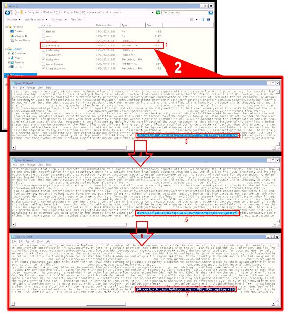 jdk.certpath.disabledAlgorithms = MD2, DSA, RSA keySize <2048