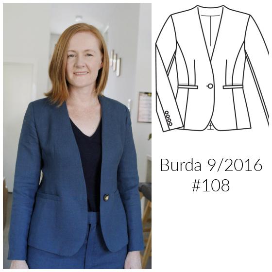 teal green linen blazer Burda 9/2016 #108 www.loweryourpresserfoot.blogspot.com