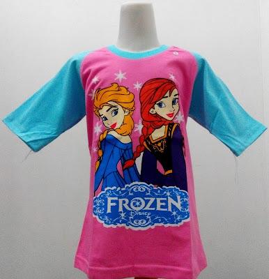 Kaos Raglan Anak Karakter Frozen Elsa Ana Pink Lengan Biru