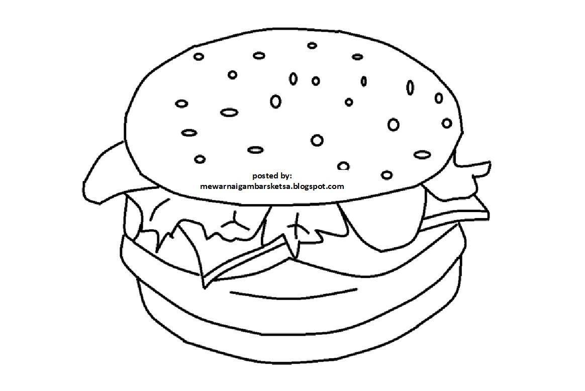 Mewarnai Gambar Sketsa Hamburger Menggambar Makanan