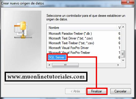 Nuevo origigen de datos SQL server
