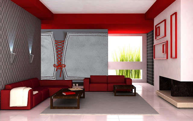 deco salon rouge et gris