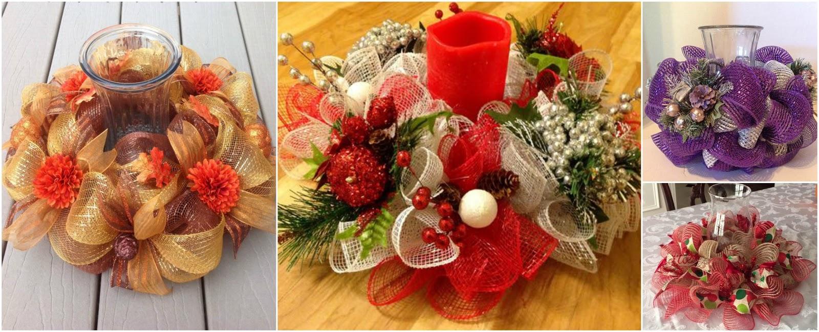 Aprende c mo hacer centros de mesa navide os con mallas - Hacer centros de navidad ...