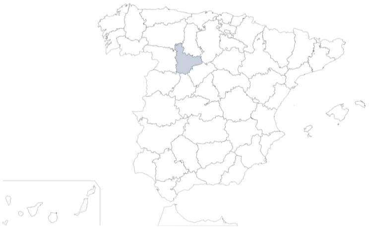 Provincia de Valladolid en mapa de España