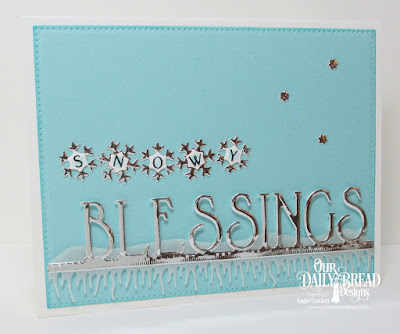 ODBD Pennant Swag Alphabet, ODBD Custom Blessings Border Die, ODBD Custom Snow Crystals Dies, ODBD Custom Grass Lawn Die, ODBD Custom Pierced Rectangles Dies, Card Designer Angie Crockett