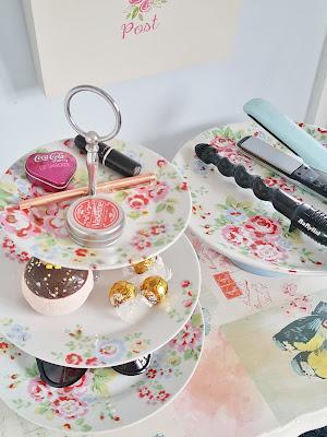 floral cake stands in vintage bedroom interior
