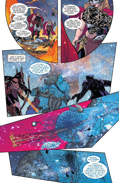 Jane Foster hits Laufey with her hammer and Laufey loses one of his eye in War of the Realms Issue #6.