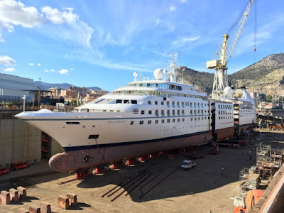 Star Breeze Windstar Cruises stretched at Italy's Fincantieri Shipyard