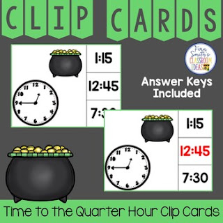 Time to the Quarter Hour Clip Cards St. Patrick's Day Themed