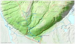 Mapa 1 del Parque Nacional Skaftafell.