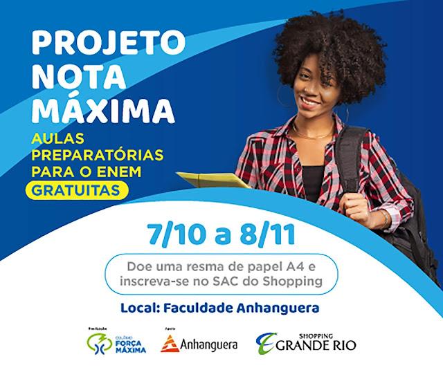 Shopping Grande Rio, em parceria com o Colégio Força Máxima e Faculdade Anhanguera, promove aulas preparatórias gratuitas para o Enem 2019