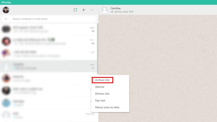 archivas chat aplicación whatsapp pc