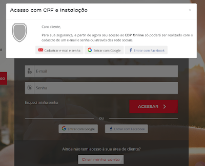 Imagem da Pagina de cadastro para ter acesso a Edp Escelsa 2 via Espírito Santo