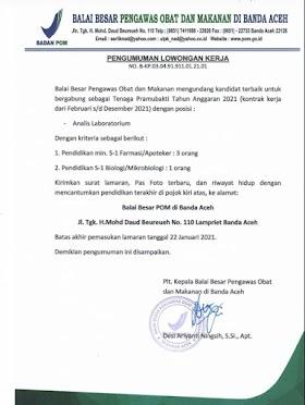 Lowongan Kerja D3/S1 di Badan Pengawas Obat dan Makanan (BPOM) Banda Aceh Januari 2021