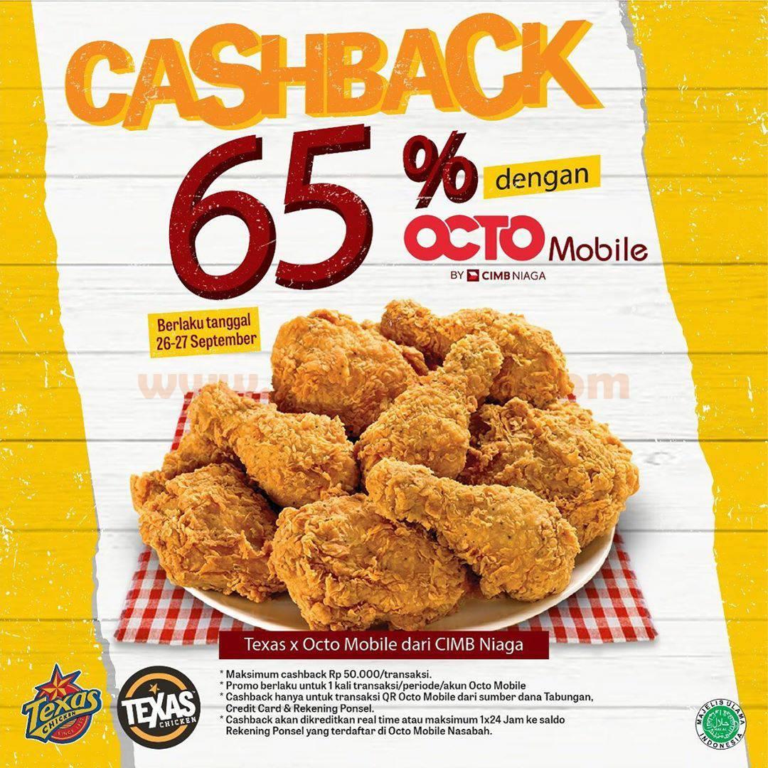 Texas Chicken Promo Cashback 65% dengan OCTO Mobile by CIMB NIAGA