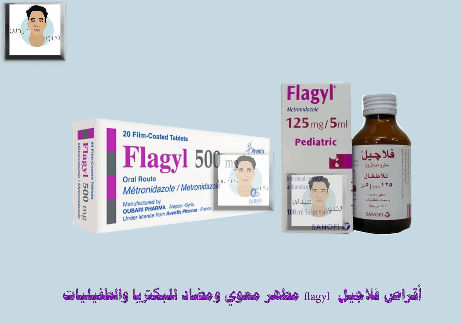 أقراص فلاجيل flagyl مطهر معوي ومضاد للبكتريا والطفيليات