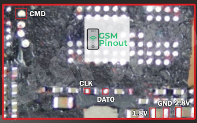Oppo A73 CPH1725 ISP (EMMC) Pinout For EMMC Programming Flashing And Remove FRP Lock