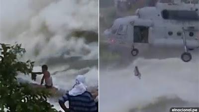 Rescatan a un hombre tras permanecer 16 horas atrapado por las inundaciones en la India