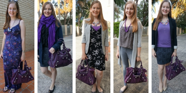 5 ways to wear a purple balenciaga work bag with other purple pieces in your outfit | away from blue