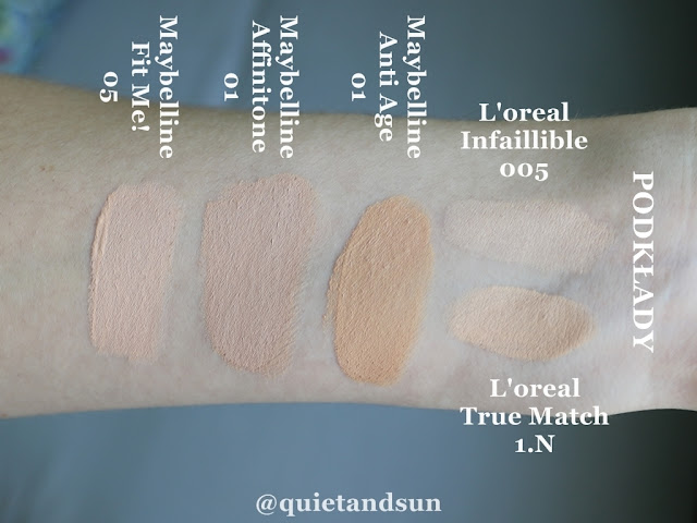 Maybelline concealer swatches in comparison to L'oreal foundation