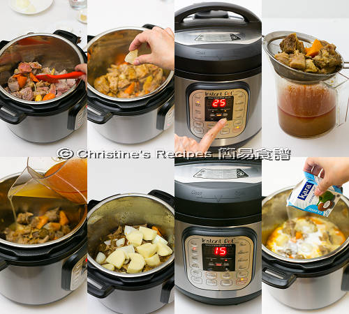 紅咖哩炆牛腩 製作圖 Red Curry with Beef Brisket in Instant Pot Procedures