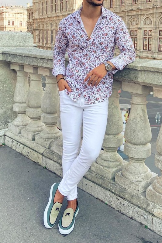 White jeans with floral pattern shirts