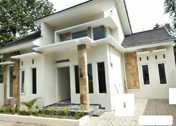 Depan Rumah Minimalis Type 45 Aksen motif batu alam