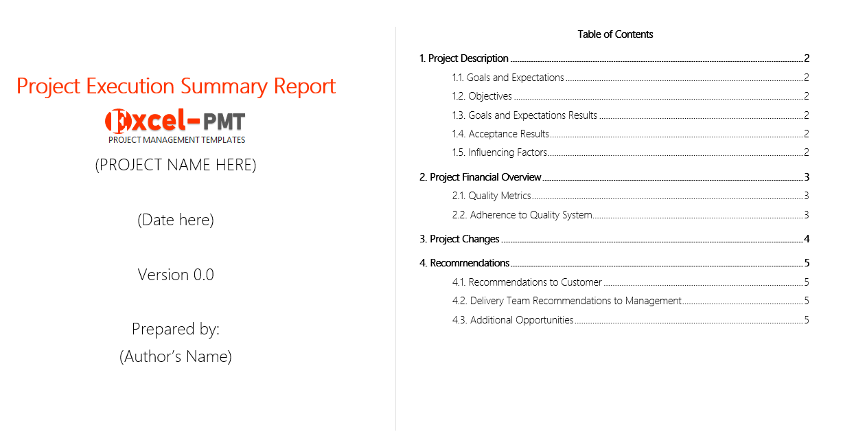 Free Project Executive Summary Report Template Project