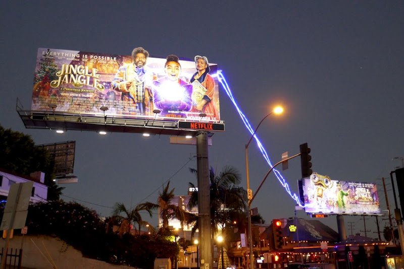 Jingle Jangle movie billboards Sunset Strip night