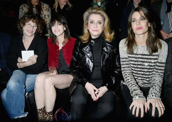 Charlotte Casiraghi visited Saint Laurent fashion show held within the scope of Paris Fashion Week Womenswear Fall/Winter 2018/2019