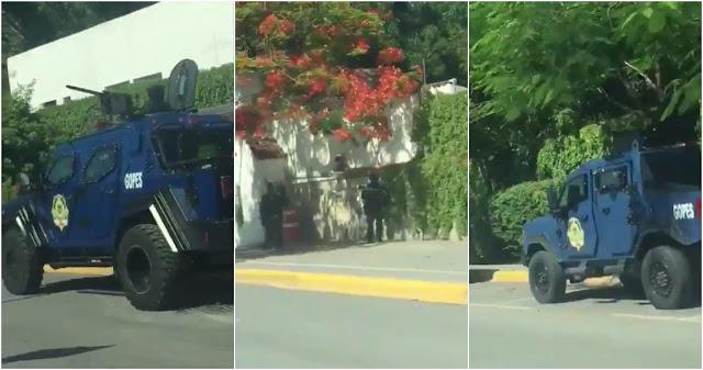 Video: Gobernador aumenta seguridad con tanquetas blindadas y artillados calibre.50  de Grupo Operaciones Especiales  en casa de Gobierno tras orden de su captura