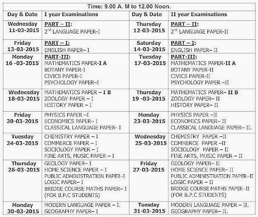 Intermediate 1st & 2nd year Exam Time Table: BIEAP