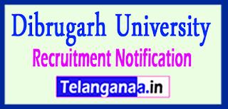 Dibrugarh University Recruitment Notification 2017