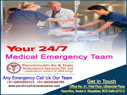 Get Panchmukhi Train Ambulance Service in Varanasi and Allahabad with Expert Medical Team