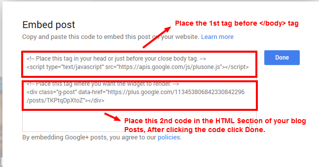Copy the Google+ Posts Code to Embed