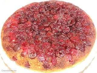 Tarta cu visine reteta rapida la tigaie zepter cu capac sau prajitura rasturnata cu fructe proaspete retete desert de casa tarte prajituri mancare,