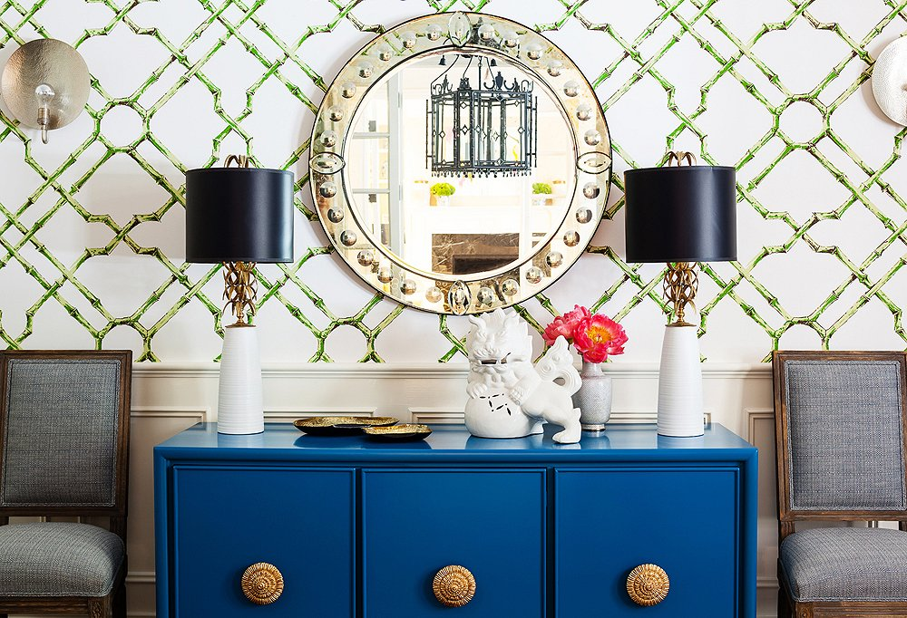 blue credenza sideboard cabinet eclectic modern transitional traditional dining room interior design brass