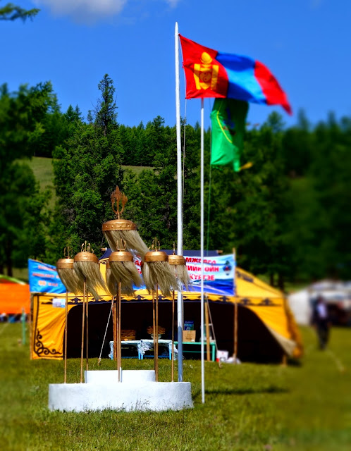 Mongolian flag and banner at the Khatgal Naadam, Khovsgo
