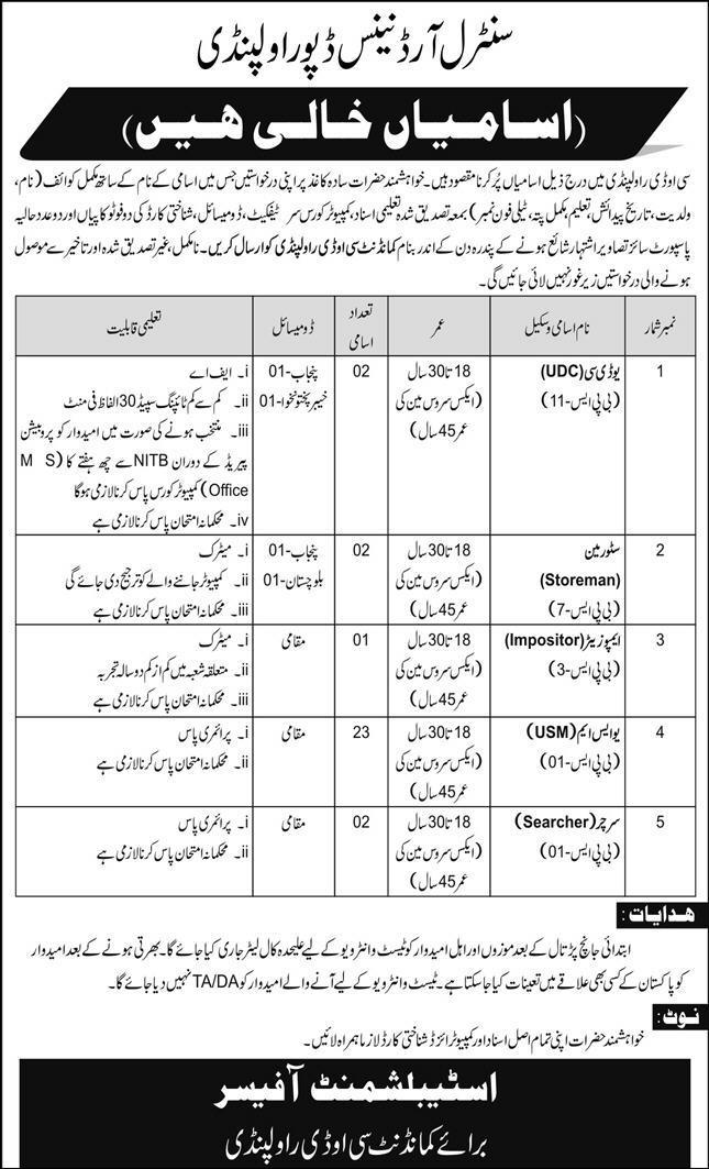 Join Pak Army as Civilian Jobs 2020