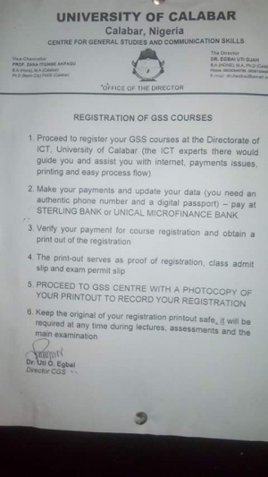 UNICAL 2016-17 GSS Course Registration Guidelines