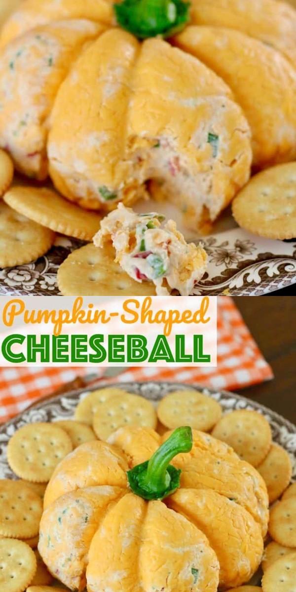Pumpkin-Shaped Cheese Ball #halloweenrecipes