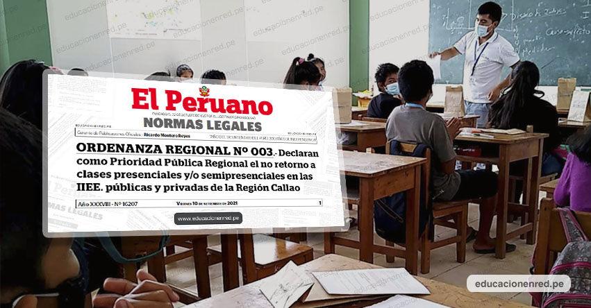 Publican ordenanza regional que declara El No Retorno a Clases Presenciales y/o Semipresenciales en todos los colegios del Callao