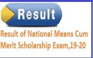 National Means-cum Merit Scholarship Exam Result 2020