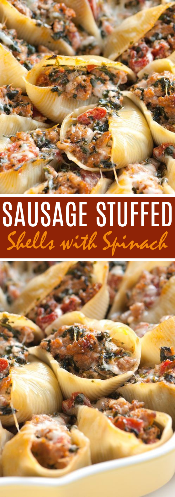 Sausage Stuffed Shells with Spinach #dinner #easy #pasta #comfortfood #sausage